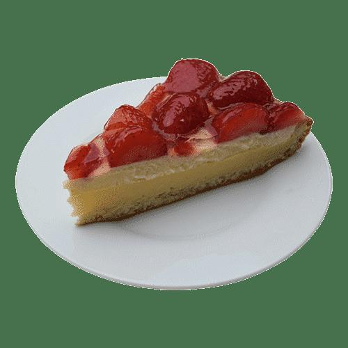 Afbeelding van aardbeienvlaai punt welke te bestellen is op de bestelpagina. De aardbeienpunt is gemaakt van verse aardbeien en Zwitserse en gele room.