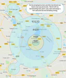 Afbeelding van bezorgingsgebied Bakkerij Feenstra en Fenomini. Op de afbeelding staan visueel afgebeeld welke bezorgingstarieven er gelden.